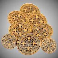 Vintage Brass Metal Sewing Buttons Embossed Fleur De Lis Astrological Signs Zodiac Wheel