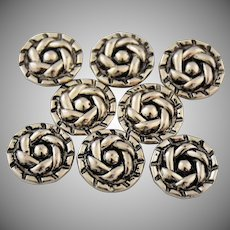 Vintage Silver Metal Sewing Buttons Swirled Self Shank Set of Eight