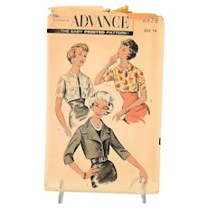 Vintage Advance Sewing Pattern 8878 Short Jackets Misses Size 14 circa 1950 MCM