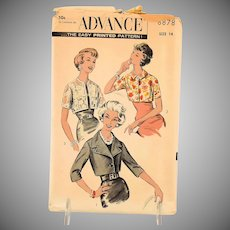 Vintage Advance Sewing Pattern 8878 Short Jackets Misses Size 14 circa 1950 MCM