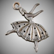 Vintage Ballerina Silver Charm or Pendant for Bracelet or Necklace Mid Century 1960s