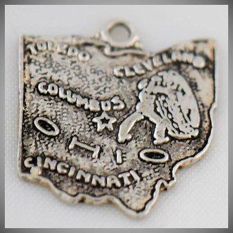 Vintage Ohio Silver Charm State of Ohio for Bracelet Necklace Pendant