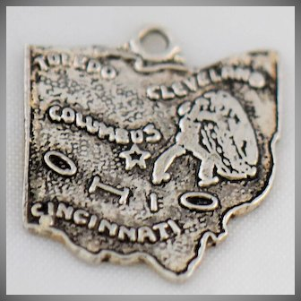 Vintage Ohio Silver Charm State of Ohio for Bracelet Necklace Pendant