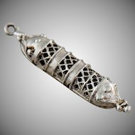 Vintage Sterling Silver Charm Torah Scroll Pendant Signed Theda Filigree Design
