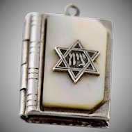 Vintage Silver Torah Book Charm or Pendant Mother of Pearl Star of David