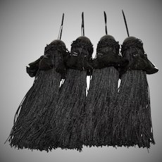Four Black Tassels Large Wooden Bead Fringe 10 Inches Long Curtain Tiebacks
