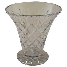 Vintage Crystal Flared Vase Clear Glass Hand Cut Diamond Design Waterford Quality