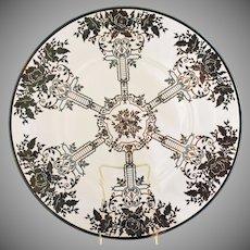 Antique Art Nouveau Sterling Silver Overlay Platter or Large Serving Plate