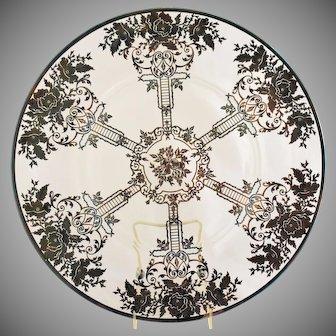 Antique Art Nouveau Sterling Silver Overlay Platter Wedding Anniversary Bridal Shower Plate
