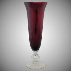 Vintage Amethyst Keyhole Vase Cambridge Glass Footed Rock Crystal Stem Wedding Gift