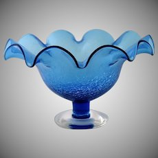 Vintage Bischoff Blue Crackle Glass Low Compote Bowl Handmade Scalloped Ruffle Edge Pedestal