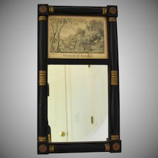 Vintage Currier Ives Mirror and Print The Season of Blossoms in Colonial Wooden Frame