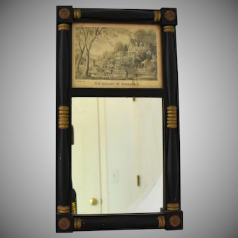 Vintage Currier Ives Mirror and Print The Season of Blossoms in Wooden Frame