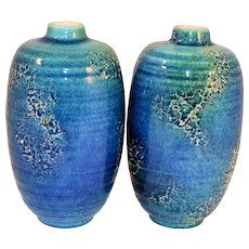 Vintage Mid Century Modern Haeger Vases Blue Green Mottled Pottery Glaze MCM