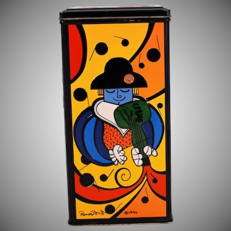 Vintage Romero Britto Collectible Tin Advertising Creme De Grand Marnier Liqueur
