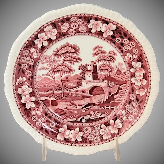 Vintage Copeland Spode's Tower England Salad Plate Pink Red circa 1954