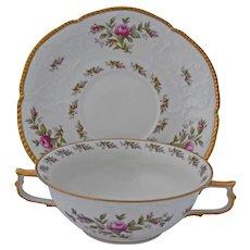 Rosenthal Sanssouci Soup Bowls and Under Plates Ivory Rose Pastorale Double Handled