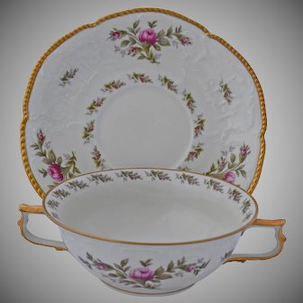 Rosenthal Sanssouci Soup Bowls and Under Plates Ivory Rose Pastorale Double Handled