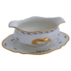 Rosenthal Continental Sanssouci Gravy Boat Serving Dish Attached Underplate Pastorale Rose