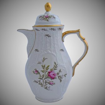 Rosenthal Sanssouci Coffee Pot Ivory Rose Pastorale Pattern