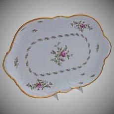 Sanssouci Porcelain Serving Platter Pastorale Pattern Roses 13.25 by 8.50 Inches