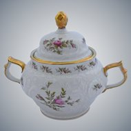 Rosenthal Sanssouci Porcelain Covered Sugar Bowl Pastorale Pattern 5.50 by 7 Inches