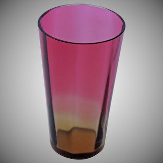 Victorian Amberina Paneled Art  Glass Tumbler Antique Cranberry Lemonade