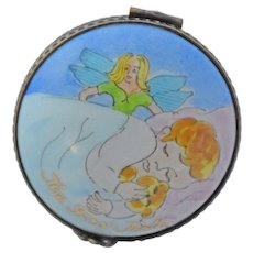 Vintage French Limoges Trinket Box First Tooth Fairy Angel Hinged Hand Painted Porcelain