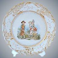 Vintage French Porcelain Cabinet Plate Romantic Scene 18th Century Gold Gilt