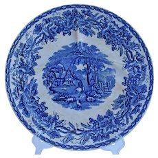 Flow Blue Grill Dinner Plate British Scenery Transferware by Booths England circa 1891-1948