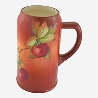 Antique CAC American Belleek Lenox Tankard Stein Handle Hand Painted Brick Red Currant Berries