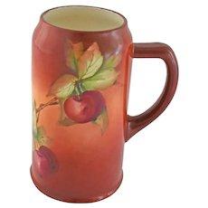 Antique CAC American Belleek Lenox Tankard Stein Handle Hand Painted Brick Red Currant Berries