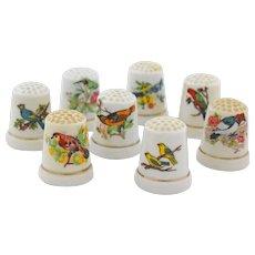 Vintage White Porcelain Bird Thimbles Gold Trim Set of Eight Sewing