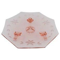 Elegant Period Pink Glass Crystal Tidbit Octagon Dish Hand Cut Flowers Footed