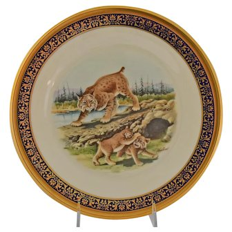 Lenox Boehm Bobcats Woodland Wildlife Collector Plate Vintage 1980 Eighth in Series