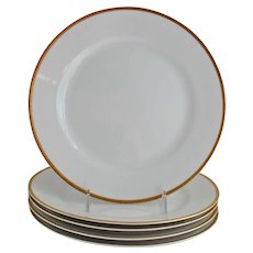 Nippon Goldena Dinner Plates White Porcelain with Gold Trim Noritake Set of Four
