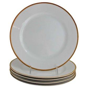 Nippon Goldena Dinner Plates White Porcelain with Gold Trim Noritake Set of Four