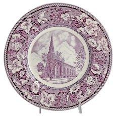 Vintage Purple Transferware Plate Pawtucket Congregational Church Rhode Island 1829-1939 Enoch Woods Burslem