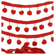Vintage Pom Pom Sewing Lace Trim Red Pompon Balls 4.94 Yards Continuous Length Retro 1970-80s
