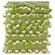 Vintage 1970s Retro Green White Pom Pom PomPon Lace Trim Made in Germany 5 Yards