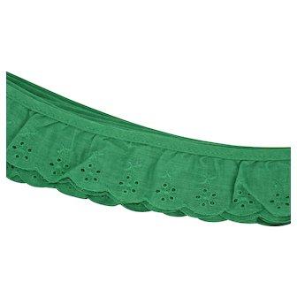 Vintage Green Cotton Eyelet Lace Sewing Trim circa 1970-80s Mid-century 3 Yards