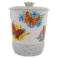 Vintage English Tin Candy Canister Butterflies Flowers