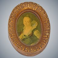 Miniature Oil on Board Portrait Painting Antique 18th Century Lovely Lady Gilt Frame