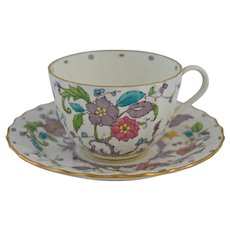Kashmir Cup and Saucer Royal Worcester Ribbed Hand Painted Flowers