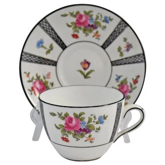Antique Crown Staffordshire Cup Saucer Paneled Floral Sprays Pink Rose Flowers Black Trim
