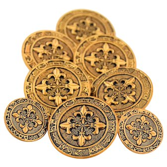 Eight Vintage Brass Sewing Buttons Embossed Fleur De Lis Astrological Signs Zodiac Wheel