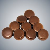Ten Vintage Copper Sewing Buttons Brass Backs Square Shank Metal