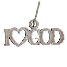 Vintage Sterling Silver Charm I Love Heart God Pendant for Necklace 925 Designer Mark