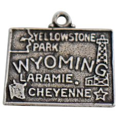 Vintage Sterling Silver Charm Wyoming State Souvenir for Bracelet or Necklace Pendant