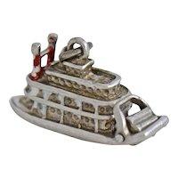 Vintage Sterling Silver New Orleans Riverboat Bracelet Charm Tag Movable Red White Enamel